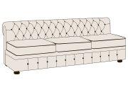 Трехместный диван Честерфилд без подлокотников