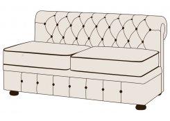 Двухместный диван Честерфилд без подлокотников описание, фото, выбор ткани или обивки, цены, характеристики