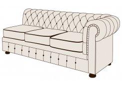 Трехместный диван Честерфилд с одним подлокотником описание, фото, выбор ткани или обивки, цены, характеристики