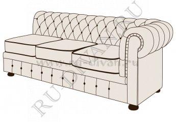 Трехместный диван Честерфилд с одним подлокотником – доставка фото 1