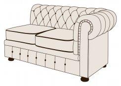 Двухместный диван Честерфилд с одним подлокотником описание, фото, выбор ткани или обивки, цены, характеристики