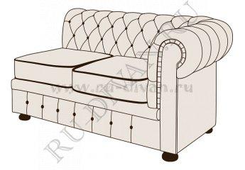 Двухместный диван Честерфилд с одним подлокотником фото 1