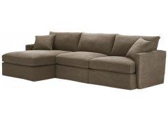 Угловой диван Марсия с оттоманкой (Коричневый)