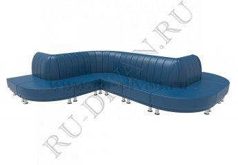 Зигзагообразный диван Блюз 10-09 модульный фото 1 цвет синий